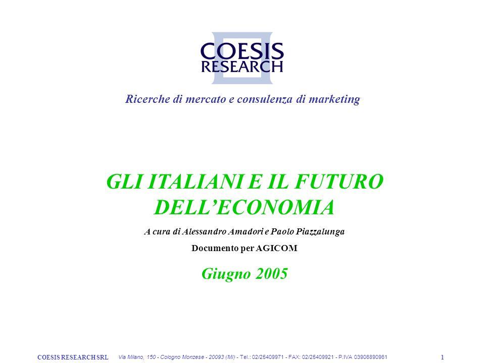 COESIS RESEARCH SRL1 Ricerche di mercato e consulenza di marketing Via Milano, 150 - Cologno Monzese - 20093 (MI) - Tel.: 02/25409971 - FAX: 02/254099