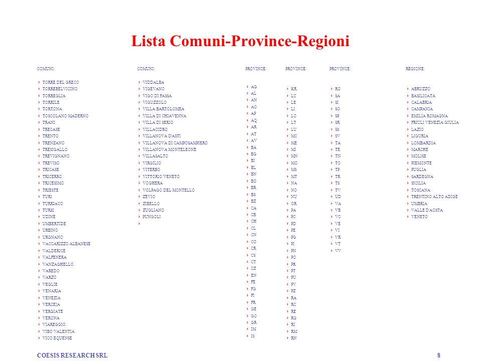 COESIS RESEARCH SRL8 Lista Comuni-Province-Regioni COMUNI: TORRE DEL GRECO TORREBELVICINO TORREGLIA TORRILE TORTONA TOSCOLANO MADERNO TRANI TRECASE TR