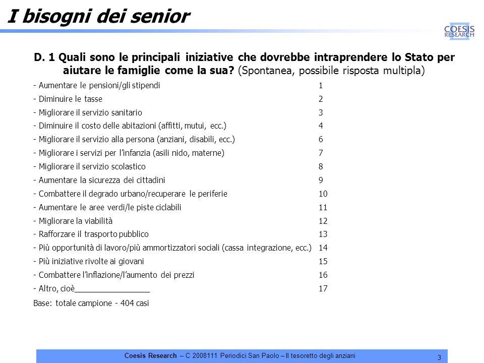 3 Coesis Research – C 2008111 Periodici San Paolo – Il tesoretto degli anziani D. 1 Quali sono le principali iniziative che dovrebbe intraprendere lo