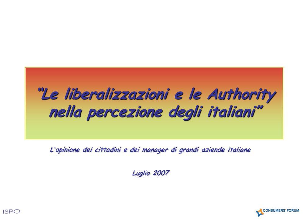 L opinione dei cittadini e dei manager di grandi aziende italiane Luglio 2007 Le liberalizzazioni e le Authority nella percezione degli italiani