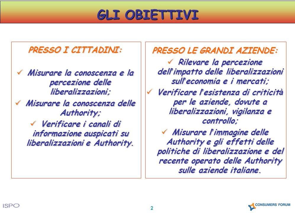 2 GLI OBIETTIVI PRESSO I CITTADINI: Misurare la conoscenza e la percezione delle liberalizzazioni; Misurare la conoscenza e la percezione delle libera