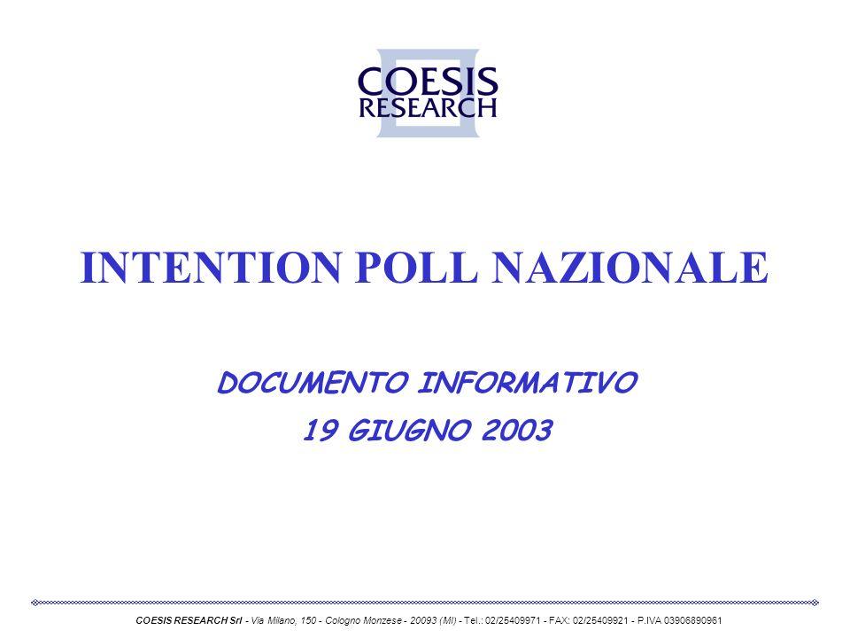 INTENTION POLL NAZIONALE DOCUMENTO INFORMATIVO 19 GIUGNO 2003 COESIS RESEARCH Srl - Via Milano, 150 - Cologno Monzese - 20093 (MI) - Tel.: 02/25409971 - FAX: 02/25409921 - P.IVA 03906890961