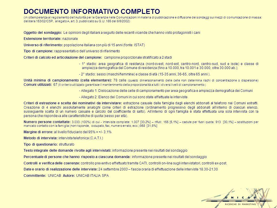 DOCUMENTO INFORMATIVO COMPLETO (in ottemperanza al regolamento dellAutorità per le Garanzie nelle Comunicazioni in materia di pubblicazione e diffusione dei sondaggi sui mezzi di comunicazione di massa: delibera 153/02/CSP, allegato A, art.