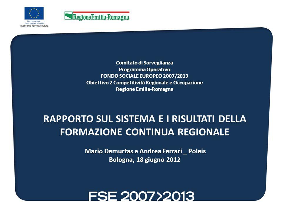 Comitato di Sorveglianza Programma Operativo FONDO SOCIALE EUROPEO 2007/2013 Obiettivo 2 Competitività Regionale e Occupazione Regione Emilia-Romagna
