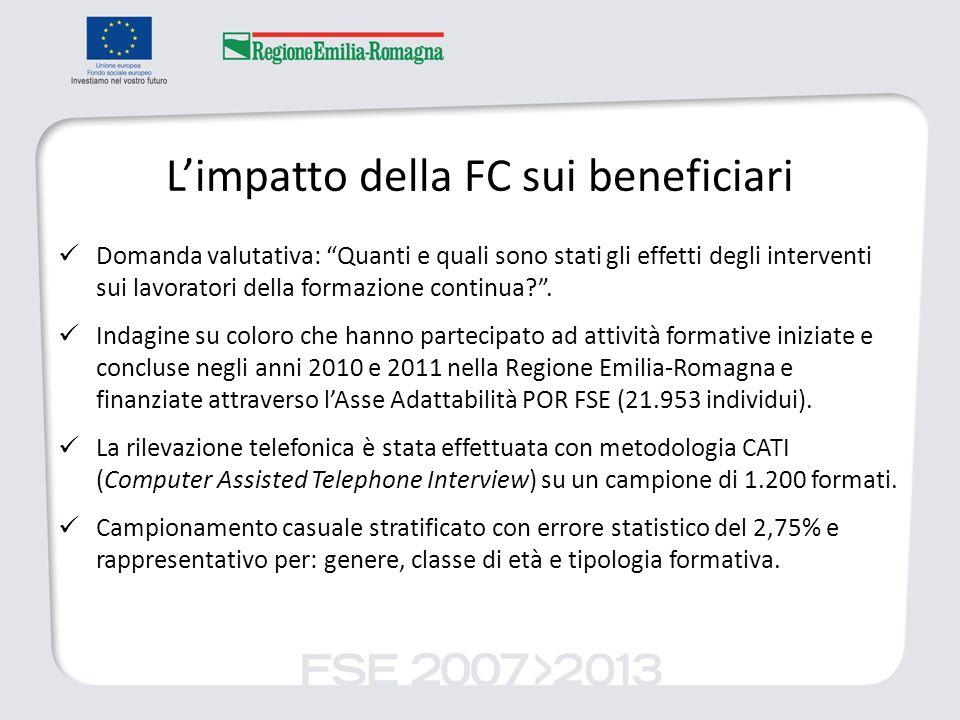Limpatto della FC sui beneficiari Domanda valutativa: Quanti e quali sono stati gli effetti degli interventi sui lavoratori della formazione continua?