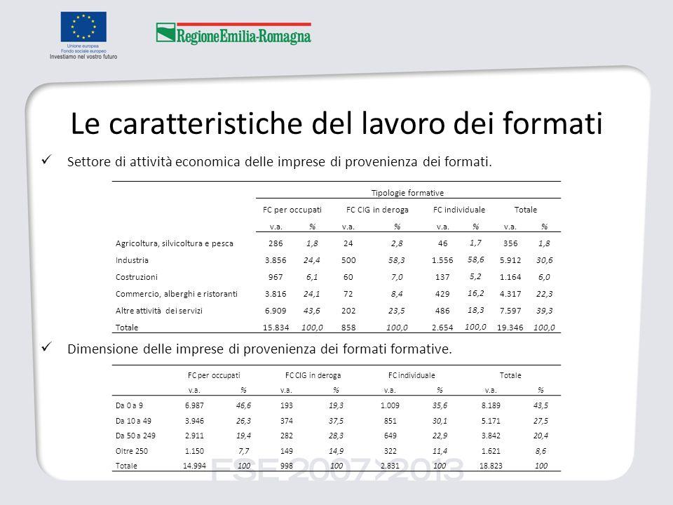 Le caratteristiche del lavoro dei formati Settore di attività economica delle imprese di provenienza dei formati. Dimensione delle imprese di provenie