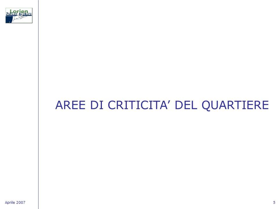 Aprile 20075 AREE DI CRITICITA DEL QUARTIERE