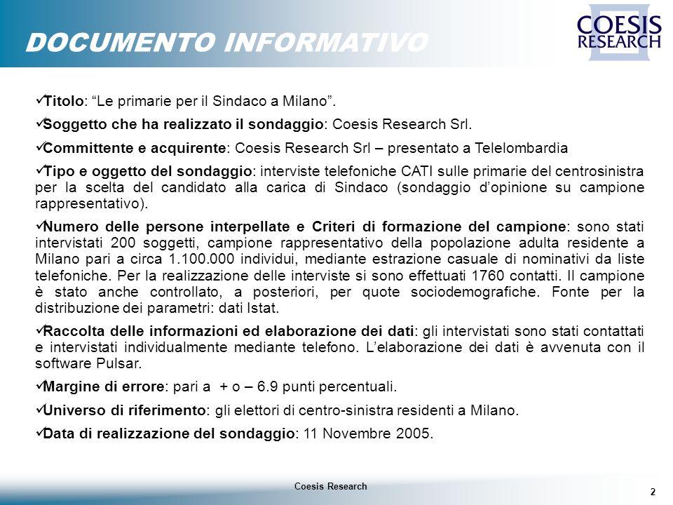 2 Coesis Research DOCUMENTO INFORMATIVO Titolo: Le primarie per il Sindaco a Milano.