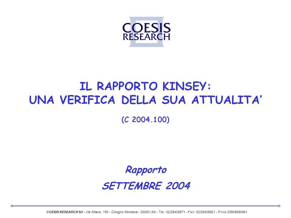 IL RAPPORTO KINSEY: UNA VERIFICA DELLA SUA ATTUALITA (C 2004.100) Rapporto SETTEMBRE 2004 COESIS RESEARCH Srl - Via Milano, 150 - Cologno Monzese - 20