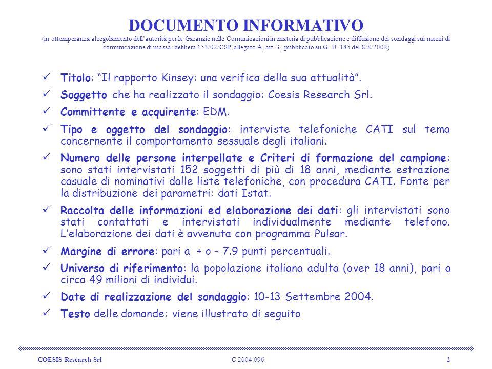 C 2004.096COESIS Research Srl2 DOCUMENTO INFORMATIVO (in ottemperanza al regolamento dellautorità per le Garanzie nelle Comunicazioni in materia di pu
