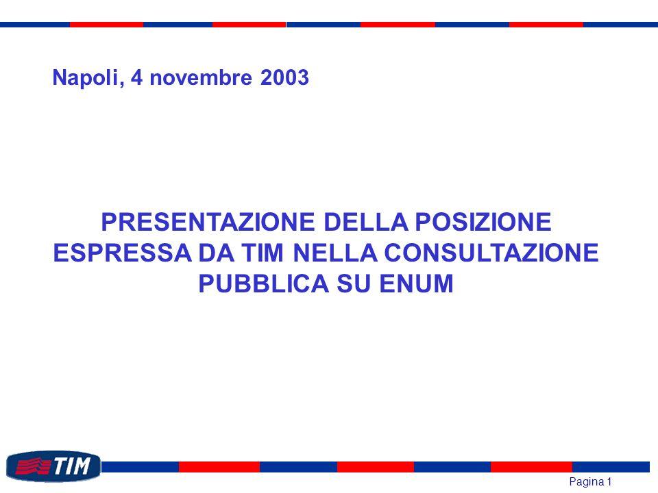 Pagina 1 PRESENTAZIONE DELLA POSIZIONE ESPRESSA DA TIM NELLA CONSULTAZIONE PUBBLICA SU ENUM Napoli, 4 novembre 2003
