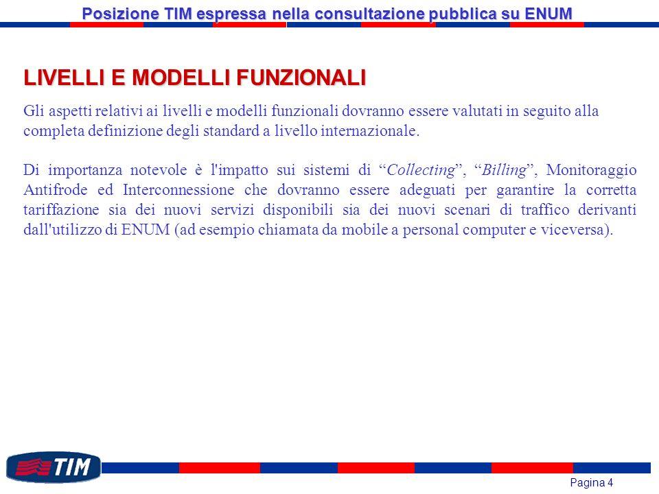 Pagina 4 Posizione TIM espressa nella consultazione pubblica su ENUM LIVELLI E MODELLI FUNZIONALI Gli aspetti relativi ai livelli e modelli funzionali dovranno essere valutati in seguito alla completa definizione degli standard a livello internazionale.
