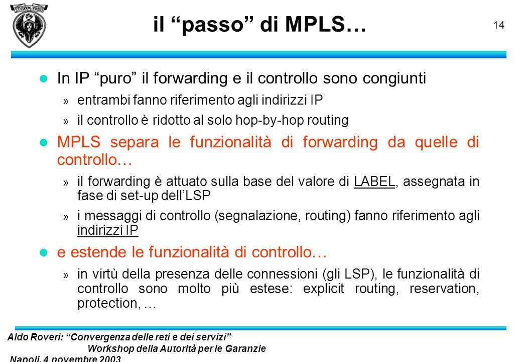 Aldo Roveri: Convergenza delle reti e dei servizi Workshop della Autorità per le Garanzie Napoli, 4 novembre 2003 nelle Comunicazioni 13 IP con MPLS s