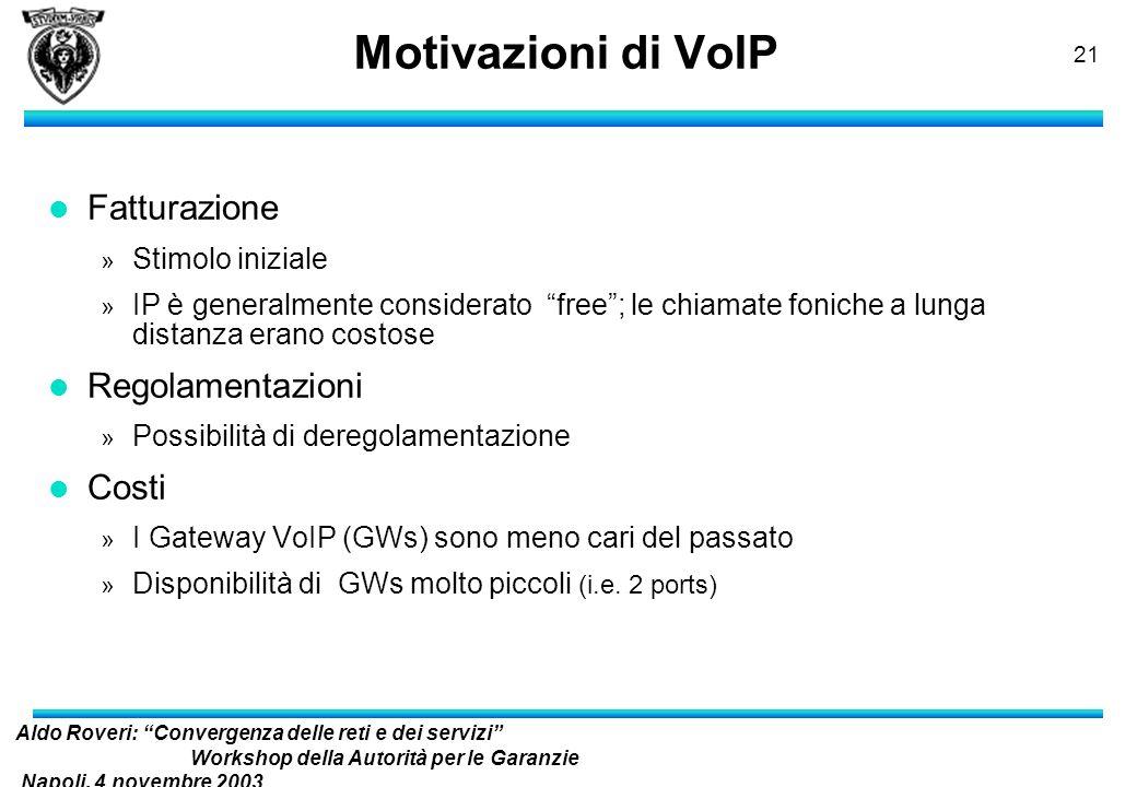 Aldo Roveri: Convergenza delle reti e dei servizi Workshop della Autorità per le Garanzie Napoli, 4 novembre 2003 nelle Comunicazioni 20 Scenari VoIP