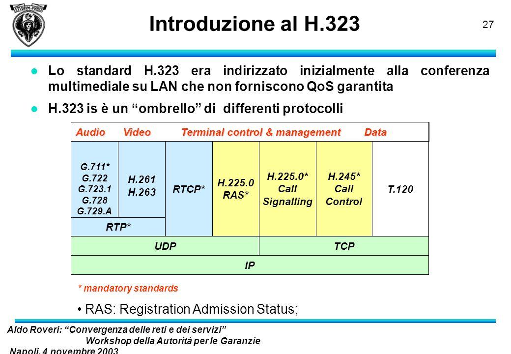 Aldo Roveri: Convergenza delle reti e dei servizi Workshop della Autorità per le Garanzie Napoli, 4 novembre 2003 nelle Comunicazioni 26 Contenuti l P