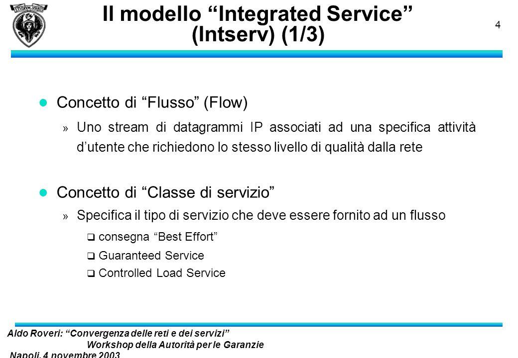 Aldo Roveri: Convergenza delle reti e dei servizi Workshop della Autorità per le Garanzie Napoli, 4 novembre 2003 nelle Comunicazioni 3 Contenuti l Pr