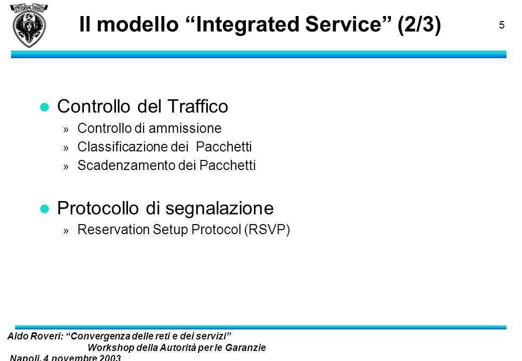 Aldo Roveri: Convergenza delle reti e dei servizi Workshop della Autorità per le Garanzie Napoli, 4 novembre 2003 nelle Comunicazioni 4 Il modello Int