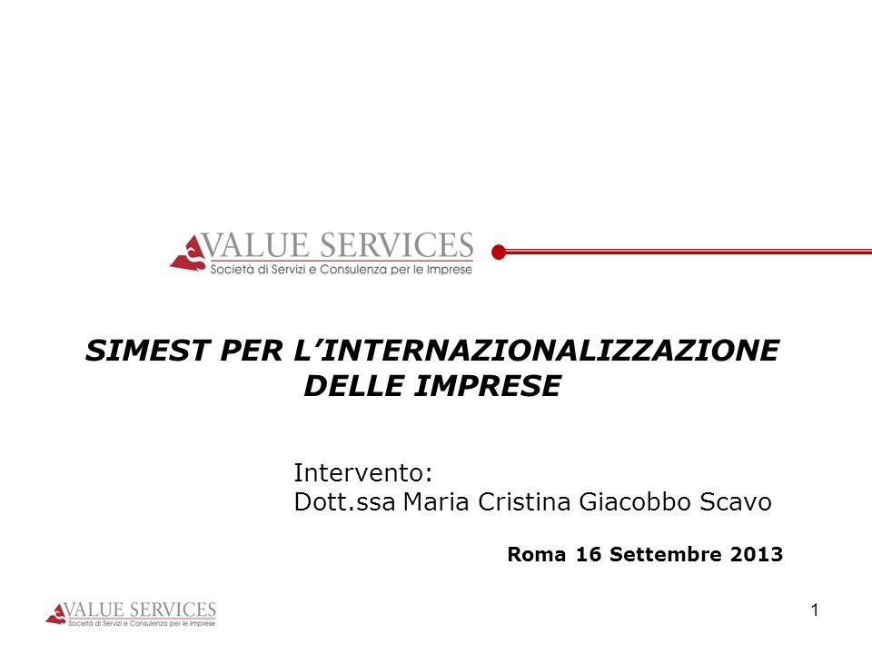 1 SIMEST PER LINTERNAZIONALIZZAZIONE DELLE IMPRESE Intervento: Dott.ssa Maria Cristina Giacobbo Scavo Roma 16 Settembre 2013