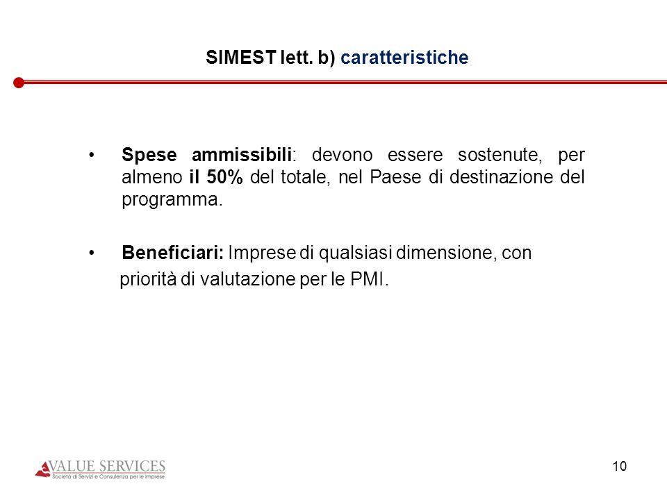 10 SIMEST lett. b) caratteristiche Spese ammissibili: devono essere sostenute, per almeno il 50% del totale, nel Paese di destinazione del programma.