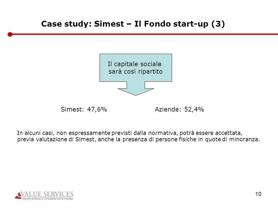 10 Case study: Simest – Il Fondo start-up (3) Il capitale sociale sarà così ripartito Simest: 47,6%Aziende: 52,4% In alcuni casi, non espressamente pr
