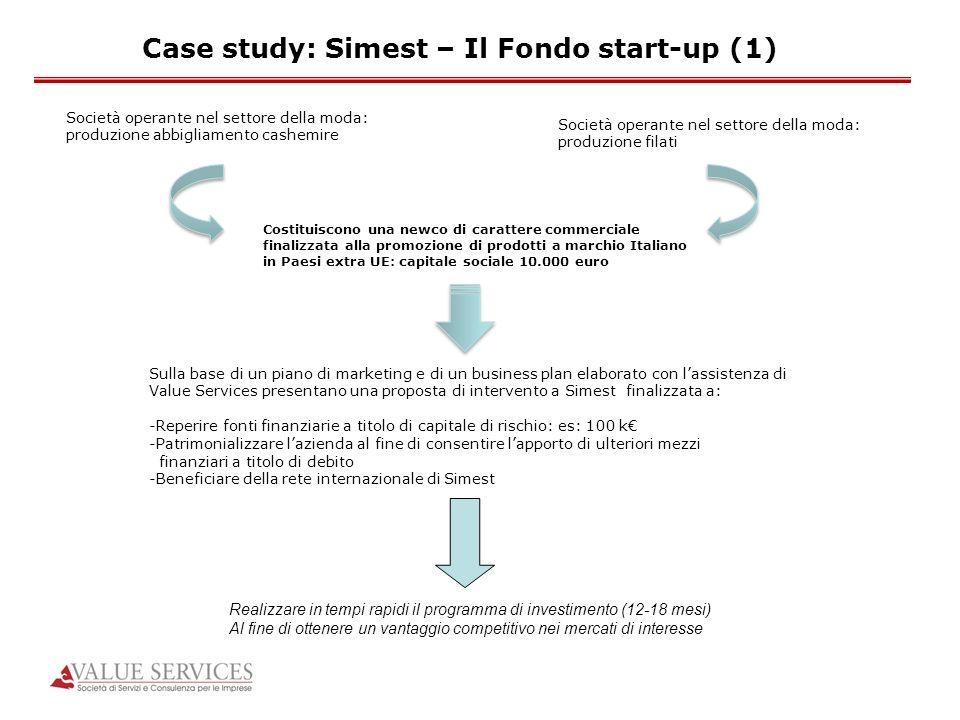 Case study: Simest – Il Fondo start-up (1) Società operante nel settore della moda: produzione abbigliamento cashemire Società operante nel settore de
