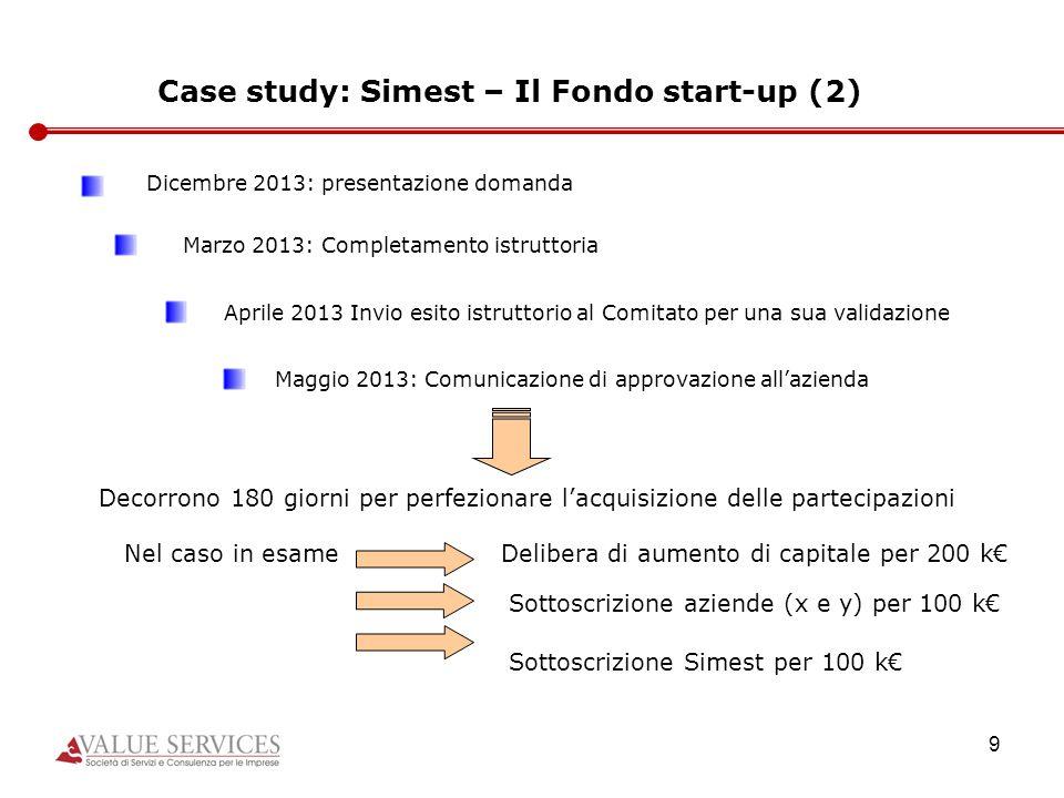 9 Case study: Simest – Il Fondo start-up (2) Dicembre 2013: presentazione domanda Marzo 2013: Completamento istruttoria Aprile 2013 Invio esito istrut