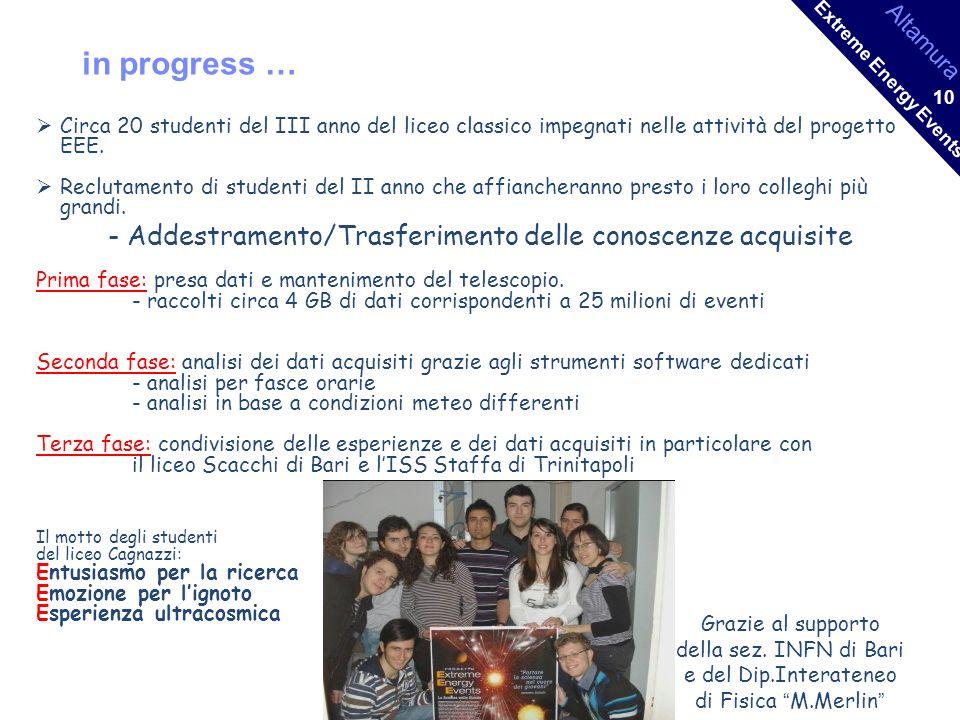 Altamura Extreme Energy Events 10 in progress … Circa 20 studenti del III anno del liceo classico impegnati nelle attività del progetto EEE.