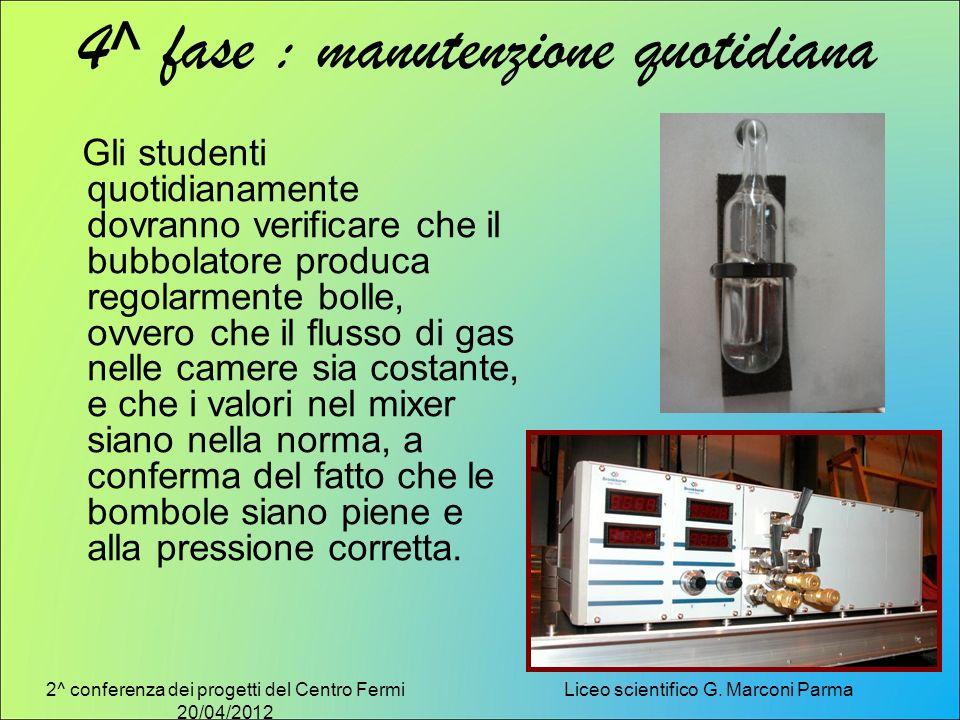 2^ conferenza dei progetti del Centro Fermi 20/04/2012 Liceo scientifico G. Marconi Parma 4^ fase : manutenzione quotidiana Gli studenti quotidianamen