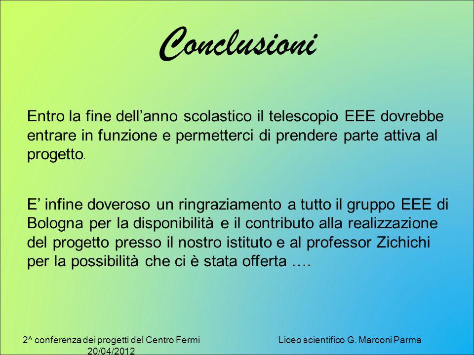 2^ conferenza dei progetti del Centro Fermi 20/04/2012 Liceo scientifico G. Marconi Parma Conclusioni Entro la fine dellanno scolastico il telescopio