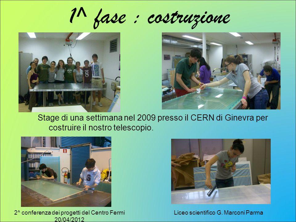 2^ conferenza dei progetti del Centro Fermi 20/04/2012 Liceo scientifico G. Marconi Parma 1^ fase : costruzione Stage di una settimana nel 2009 presso