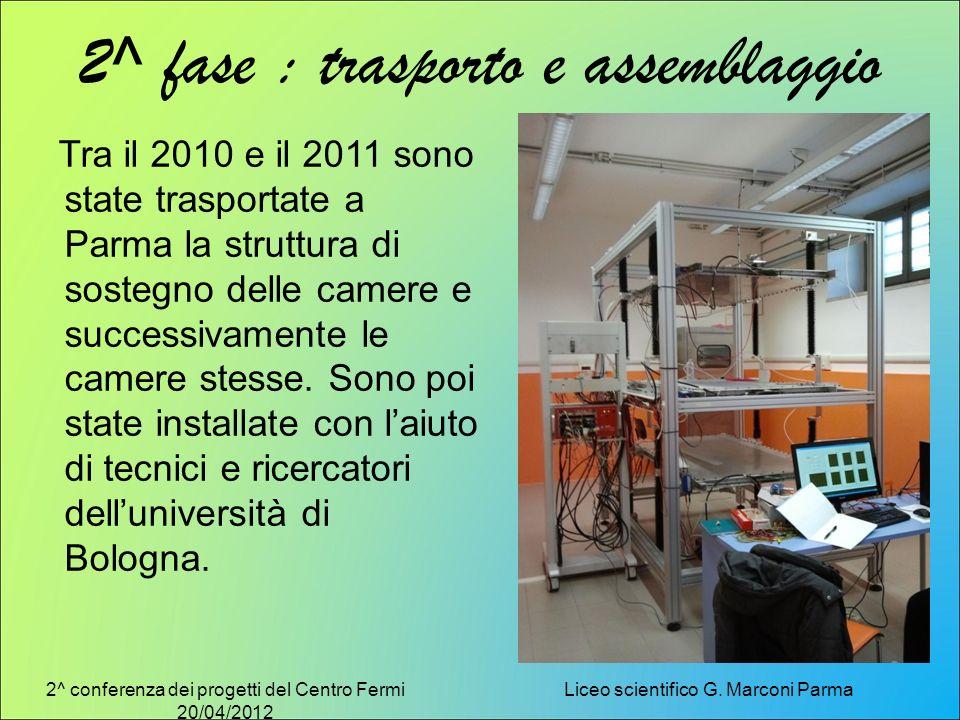 2^ conferenza dei progetti del Centro Fermi 20/04/2012 Liceo scientifico G. Marconi Parma 2^ fase : trasporto e assemblaggio Tra il 2010 e il 2011 son