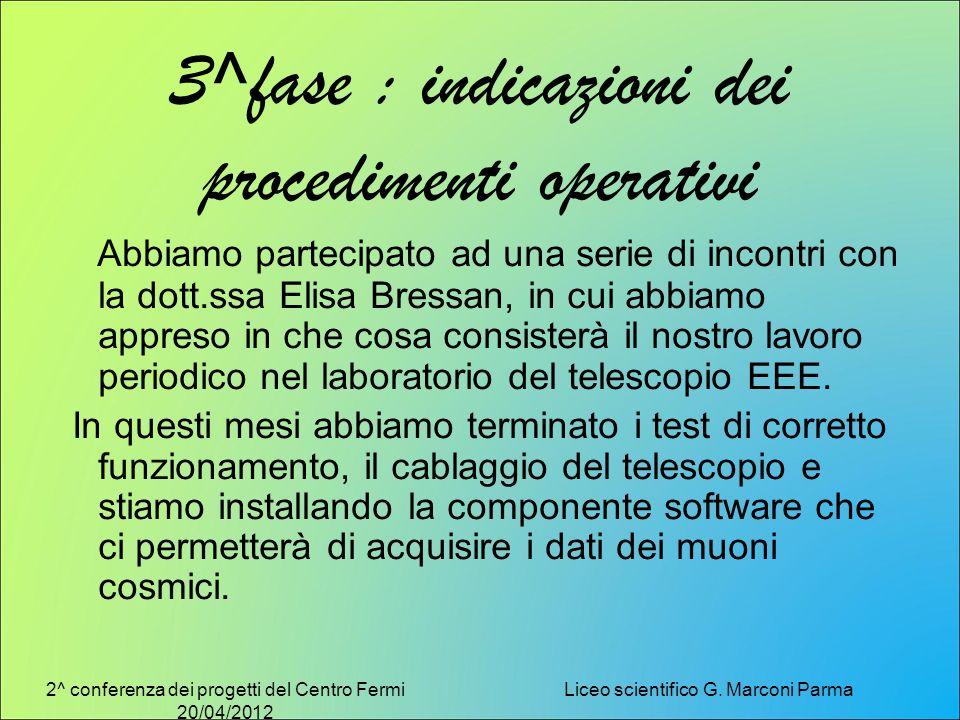 2^ conferenza dei progetti del Centro Fermi 20/04/2012 Liceo scientifico G. Marconi Parma 3^fase : indicazioni dei procedimenti operativi Abbiamo part