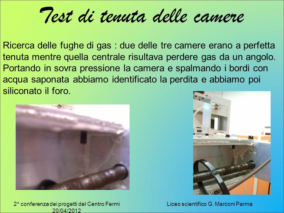 2^ conferenza dei progetti del Centro Fermi 20/04/2012 Liceo scientifico G. Marconi Parma Test di tenuta delle camere Ricerca delle fughe di gas : due