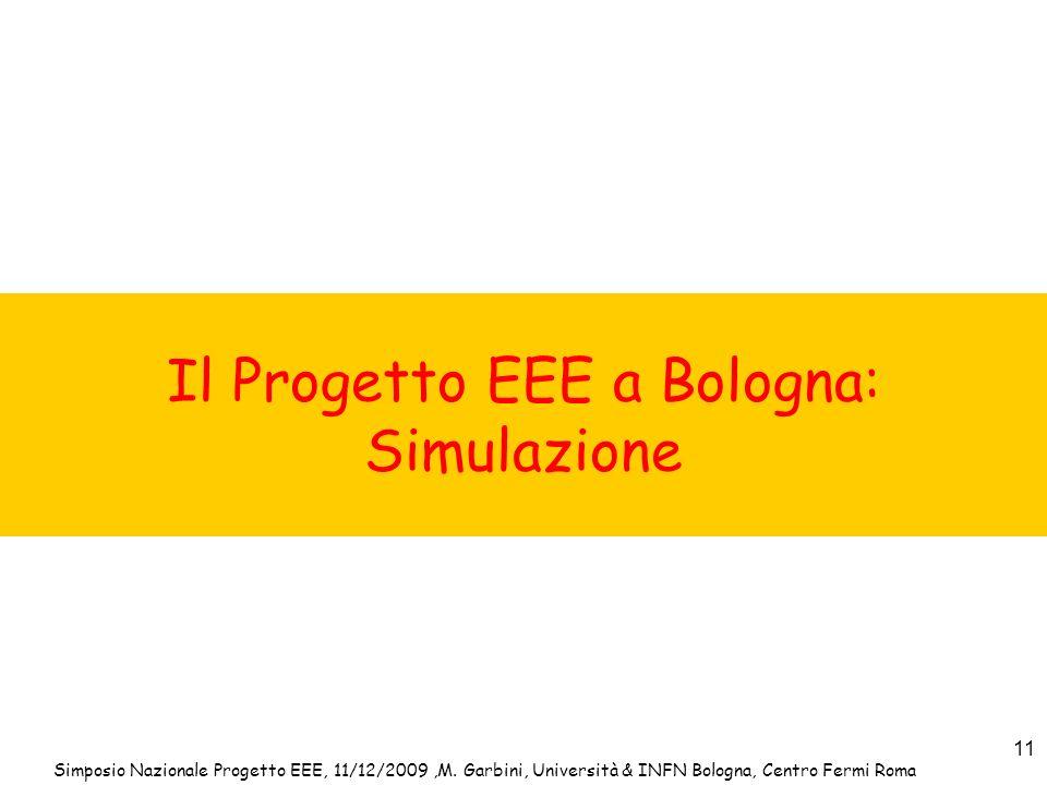 Simposio Nazionale Progetto EEE, 11/12/2009,M. Garbini, Università & INFN Bologna, Centro Fermi Roma 11 Il Progetto EEE a Bologna: Simulazione