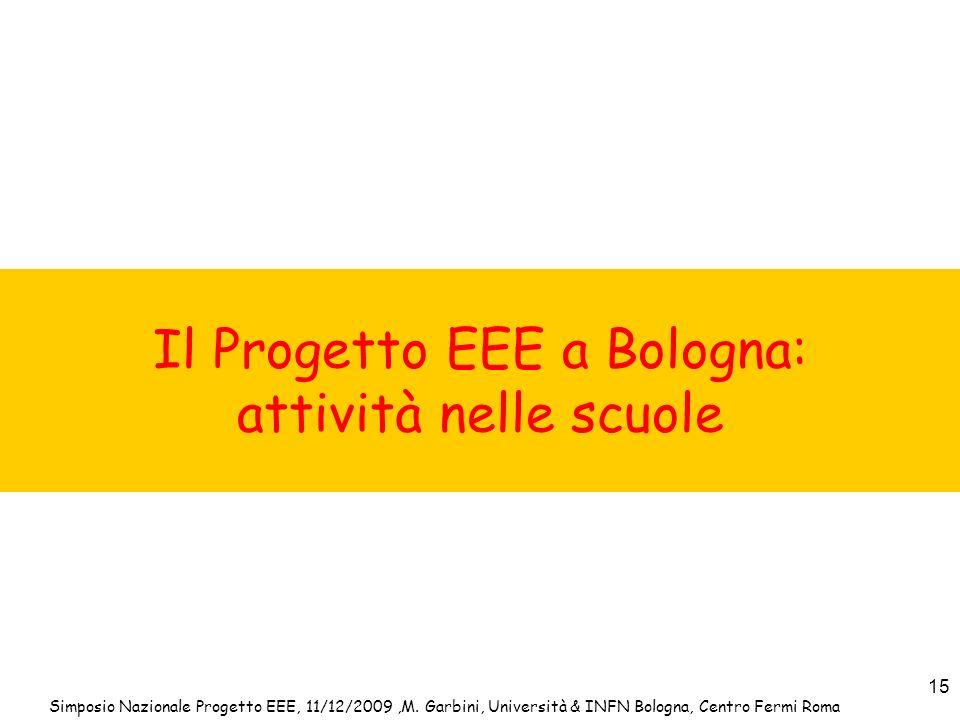 Simposio Nazionale Progetto EEE, 11/12/2009,M. Garbini, Università & INFN Bologna, Centro Fermi Roma 15 Il Progetto EEE a Bologna: attività nelle scuo