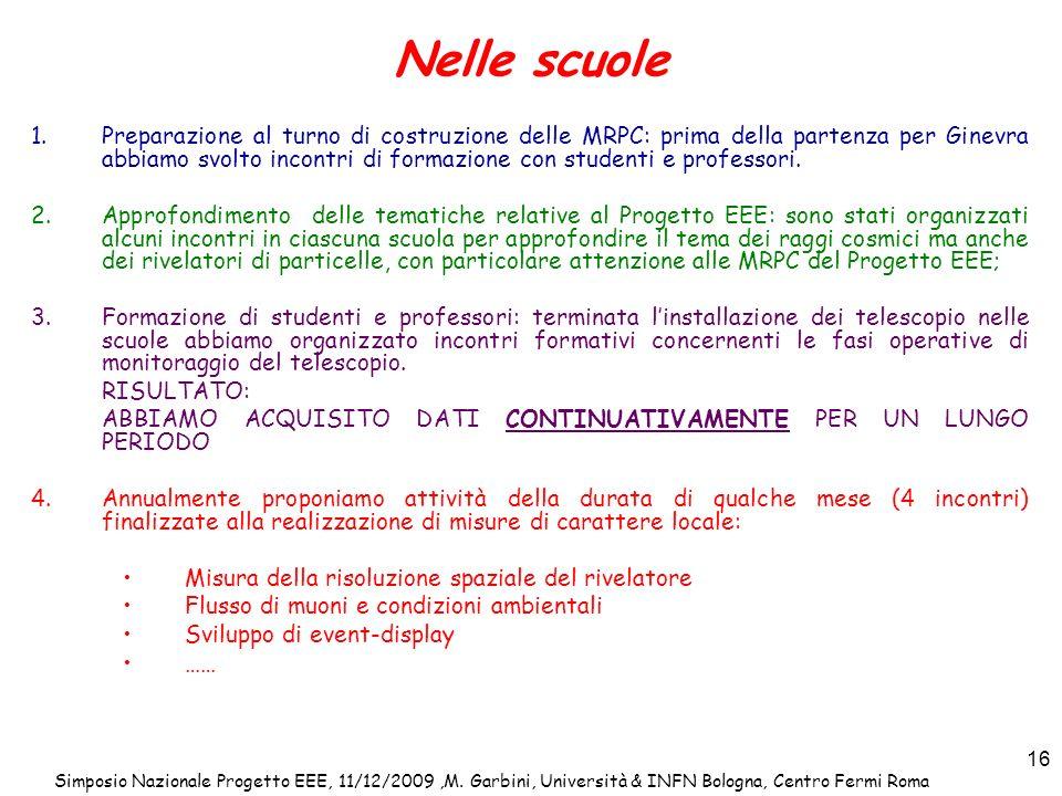 Simposio Nazionale Progetto EEE, 11/12/2009,M. Garbini, Università & INFN Bologna, Centro Fermi Roma 16 Nelle scuole 1.Preparazione al turno di costru