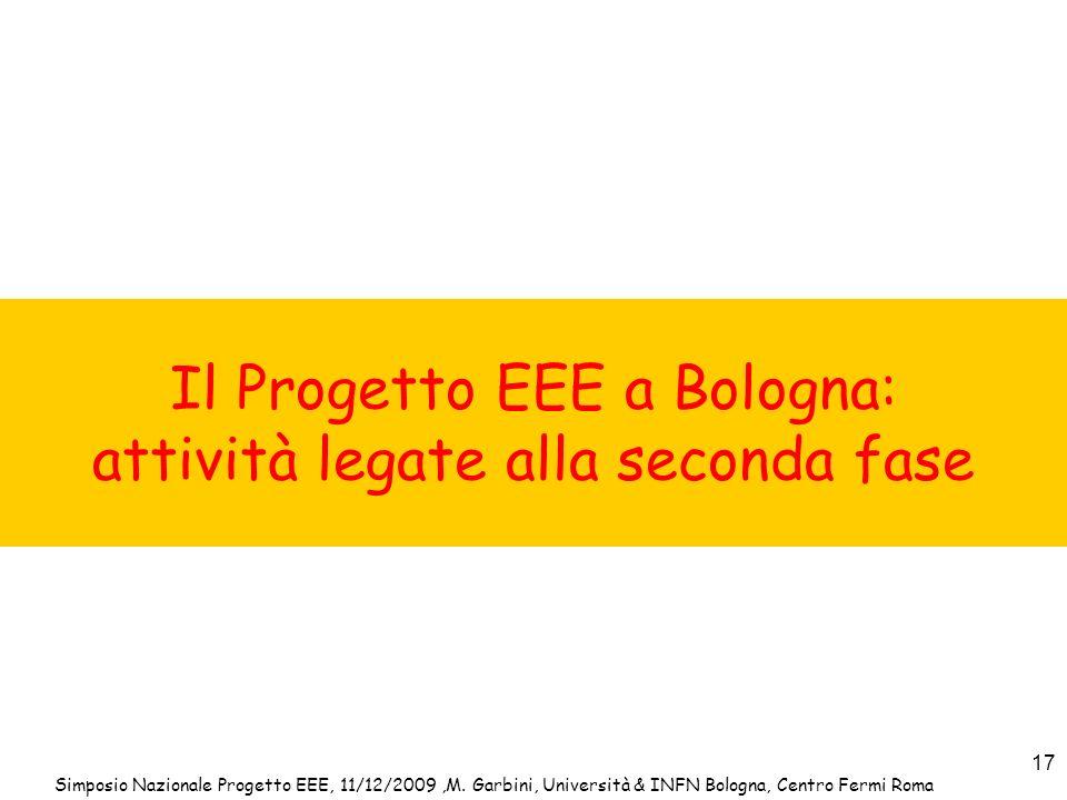Simposio Nazionale Progetto EEE, 11/12/2009,M. Garbini, Università & INFN Bologna, Centro Fermi Roma 17 Il Progetto EEE a Bologna: attività legate all