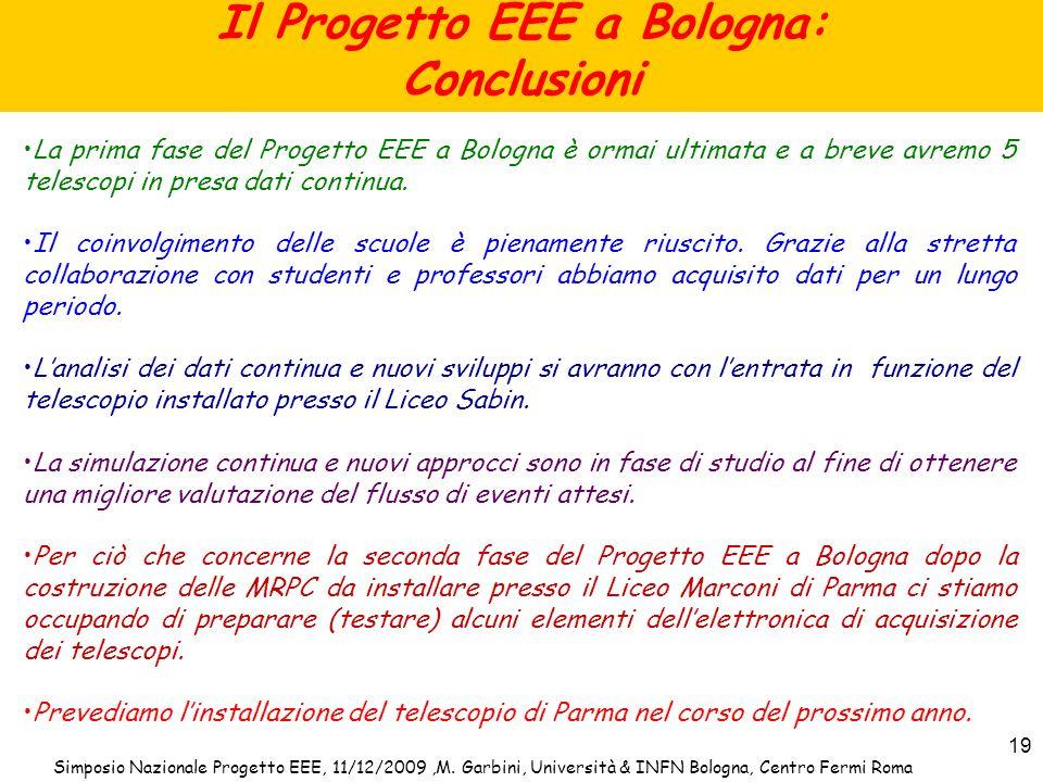 Simposio Nazionale Progetto EEE, 11/12/2009,M. Garbini, Università & INFN Bologna, Centro Fermi Roma 19 Il Progetto EEE a Bologna: Conclusioni La prim