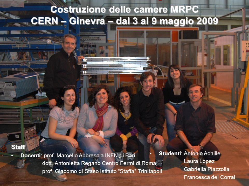 Costruzione delle camere MRPC CERN – Ginevra – dal 3 al 9 maggio 2009 Staff Docenti: prof. Marcello Abbrescia INFN di Bari dott. Antonietta Regano Cen