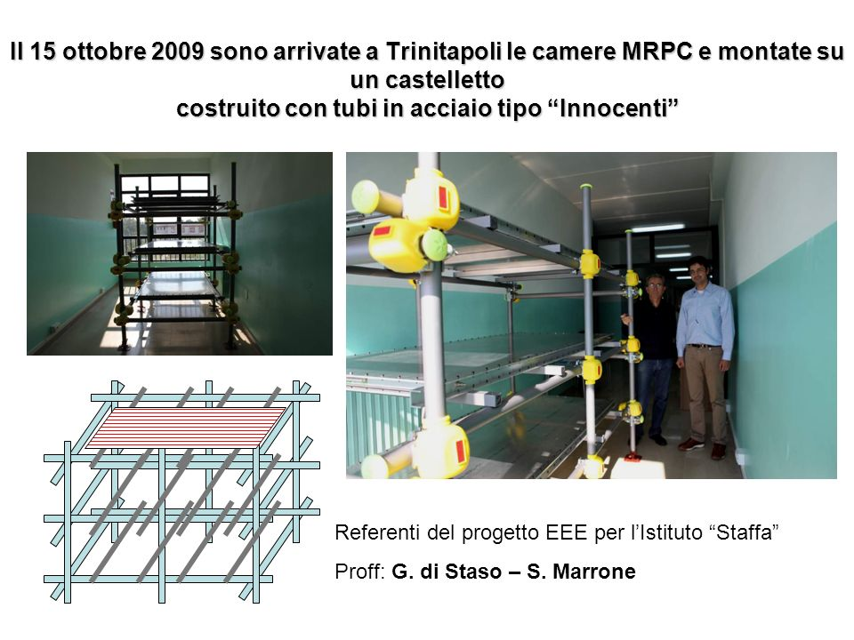 Il 15 ottobre 2009 sono arrivate a Trinitapoli le camere MRPC e montate su un castelletto costruito con tubi in acciaio tipo Innocenti Referenti del p