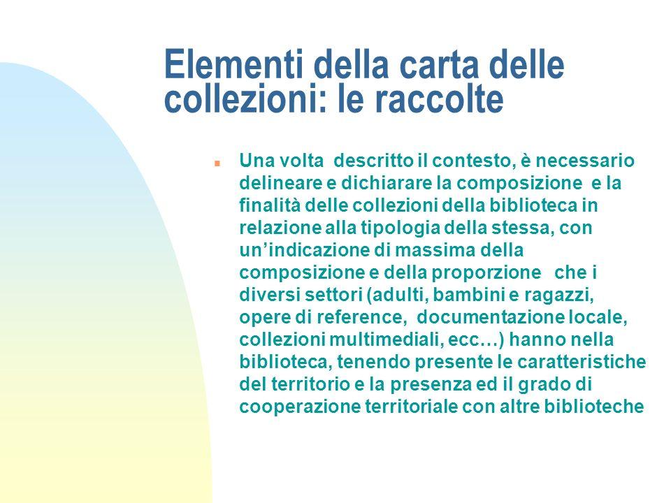 Elementi della carta delle collezioni: il profilo di comunità n Il primo elemento costitutivo della carta delle collezioni è sicuramente rappresentato