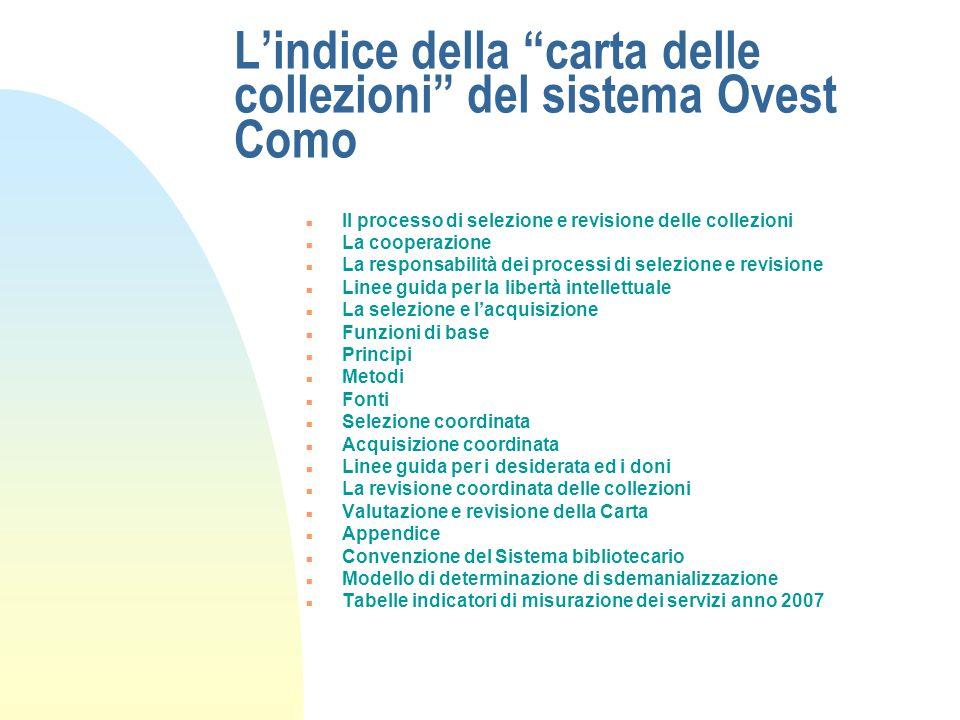 Lindice della carta delle collezioni del sistema Ovest Como n Piano triennale per lo sviluppo delle collezioni u Linee guida triennali per la politica
