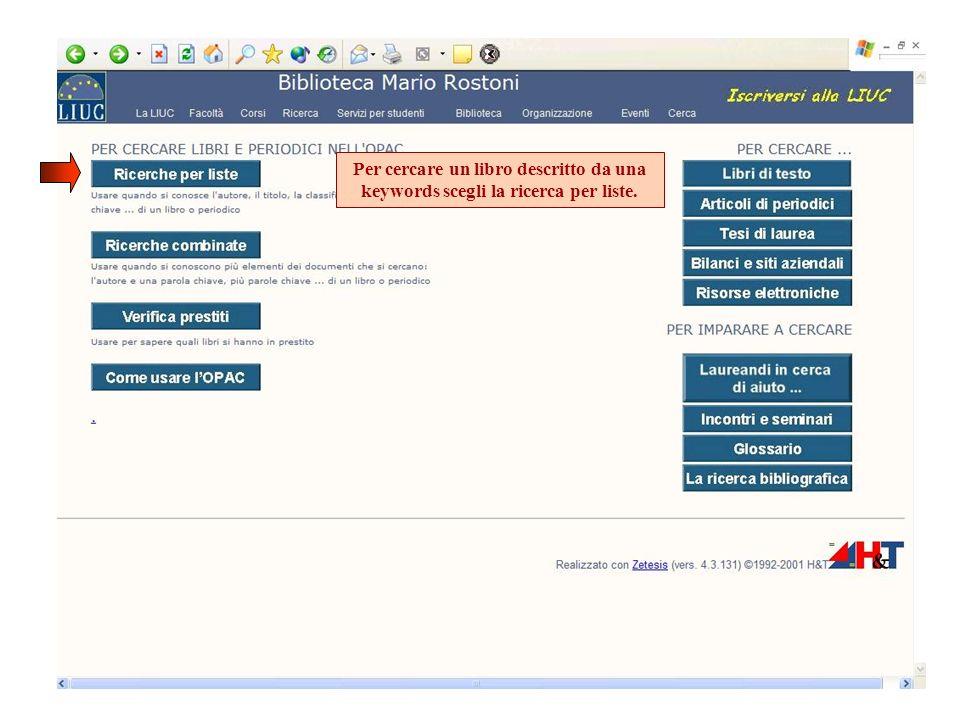 Per cercare un libro descritto da una keywords scegli la ricerca per liste.