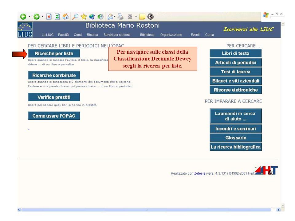 Scegli la lista Dewey – navigazione sulle classi