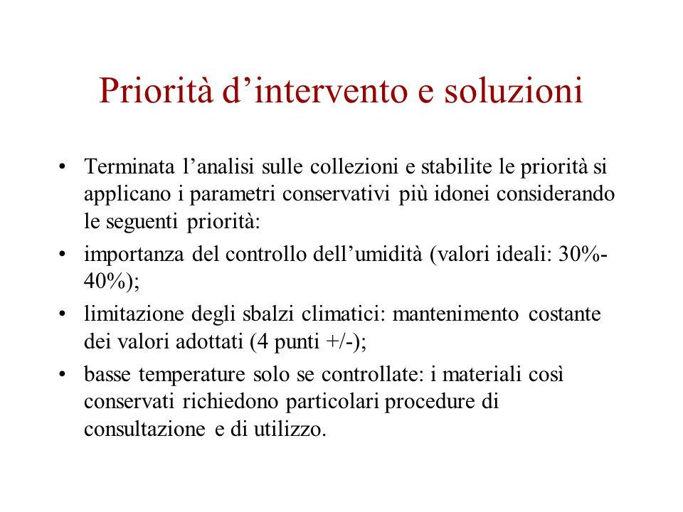 Priorità dintervento e soluzioni Terminata lanalisi sulle collezioni e stabilite le priorità si applicano i parametri conservativi più idonei consider
