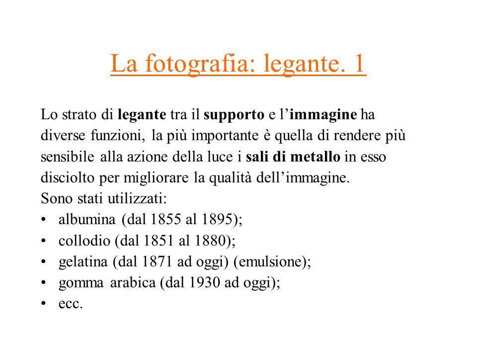 La fotografia: legante. 1 Lo strato di legante tra il supporto e limmagine ha diverse funzioni, la più importante è quella di rendere più sensibile al