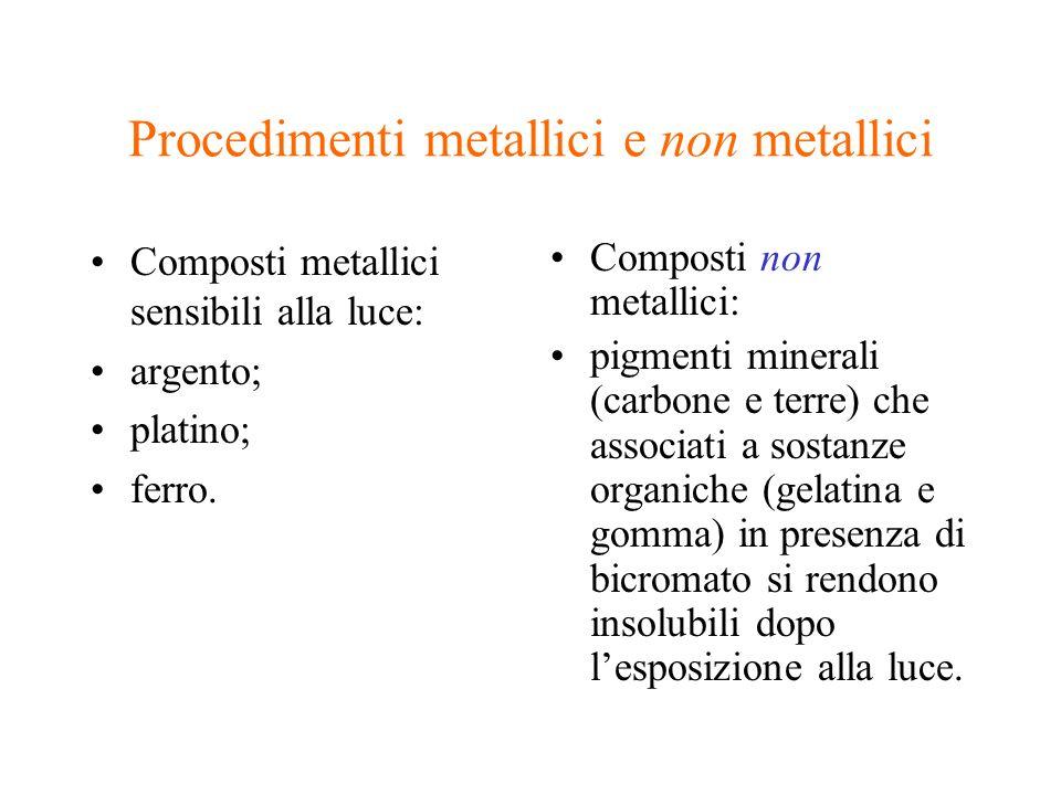 Procedimenti metallici e non metallici Composti metallici sensibili alla luce: argento; platino; ferro. Composti non metallici: pigmenti minerali (car