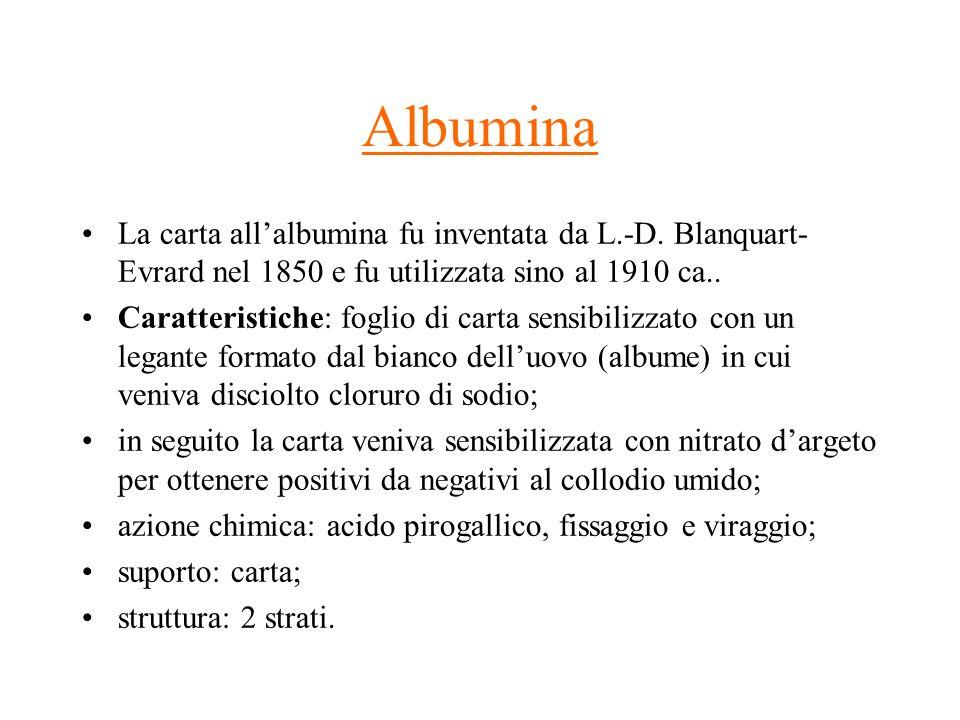Albumina La carta allalbumina fu inventata da L.-D. Blanquart- Evrard nel 1850 e fu utilizzata sino al 1910 ca.. Caratteristiche: foglio di carta sens