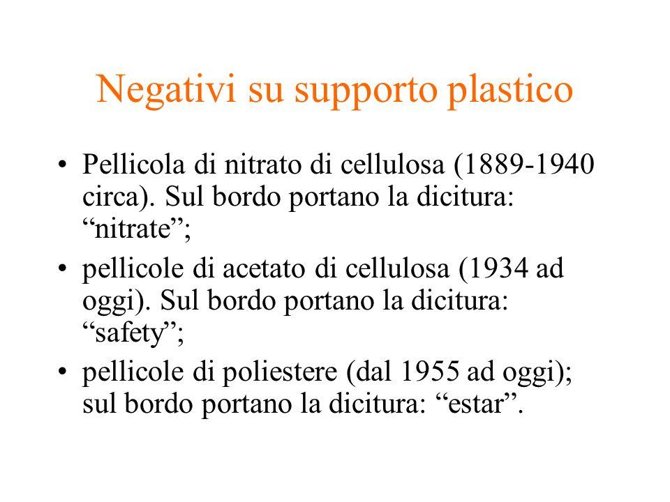 Negativi su supporto plastico Pellicola di nitrato di cellulosa (1889-1940 circa). Sul bordo portano la dicitura: nitrate; pellicole di acetato di cel