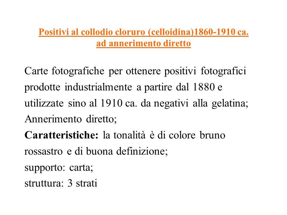 Positivi al collodio cloruro (celloidina)1860-1910 ca. ad annerimento diretto Carte fotografiche per ottenere positivi fotografici prodotte industrial